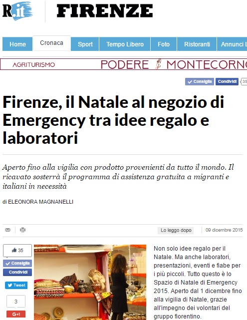 Firenze, il Natale al negozio di Emergency tra idee regalo e laboratori