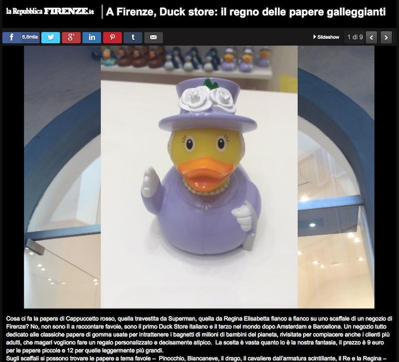 A Firenze, Duck store: il regno delle papere galleggianti