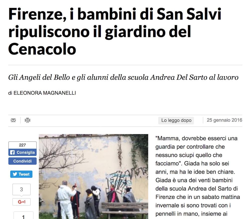 Firenze, i bambini di San Salvi ripuliscono il giardino del Cenacolo